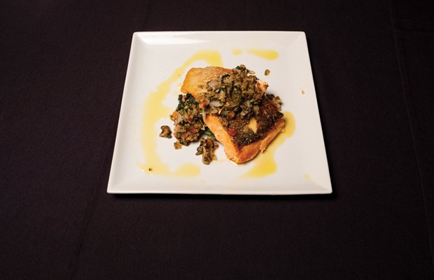 Seared salmon with capers  and black olives