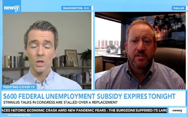 Reed Allmand on Newsy discussing Federal Unemployment Benefits