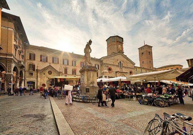 weekly street market in Reggio Emilia