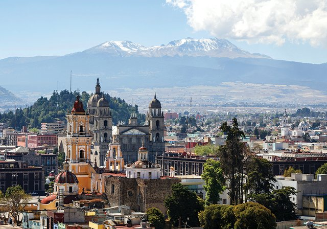 View over colonial historic centre of Toluca, Mexico