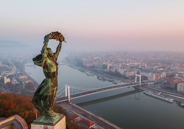 Aerial view to the Statue of Liberty with Elisabeth Bridge and R