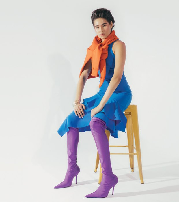Balenciaga stretch, pointed-toe, over-the-knee boots