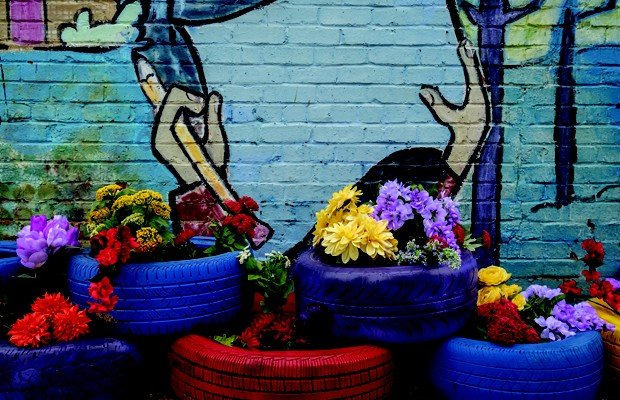 Rainbow Flowers and Tires