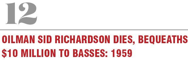 12: Oilman Sid Richardson Dies, Bequeaths $10 million to Basses, 1959
