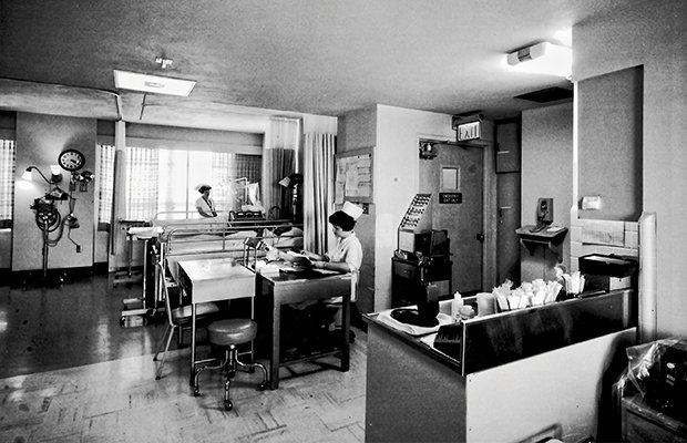 Nurses working inside medical center