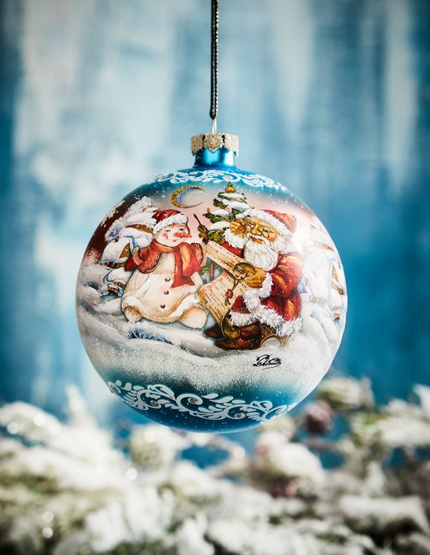 Vintage Snowing Story Glass  Ornament, Blue